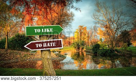 Street Sign The Direction Way To To Like Versus To Hate
