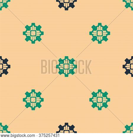 Green And Black Processor Icon Isolated Seamless Pattern On Beige Background. Cpu, Central Processin