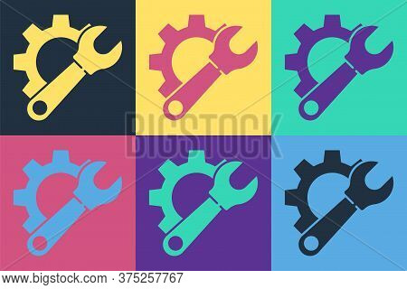 Pop Art Wrench Spanner And Gear Icon Isolated On Color Background. Adjusting, Service, Setting, Main