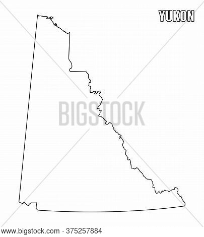 The Yukon Territory Outline Map Isolated On White Background, Canada