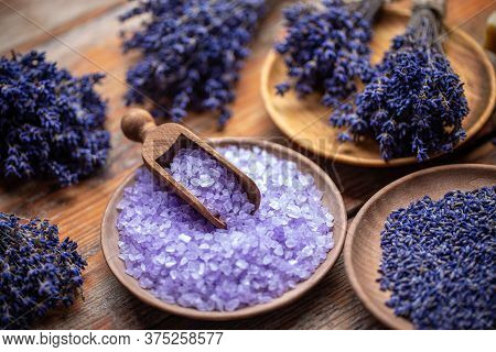Aromatherapy With Natural Salt And Lavender, Close Up