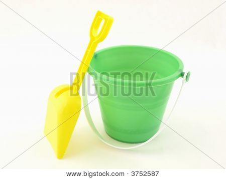 Green Pail With Yellow Shovel