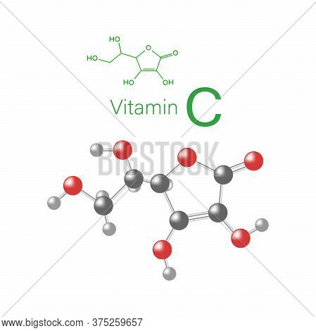 Vector Illustration Of The Chemical Compound Vitamin C