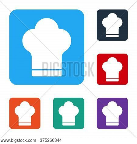 White Chef Hat Icon Isolated On White Background. Cooking Symbol. Cooks Hat. Set Icons In Color Squa