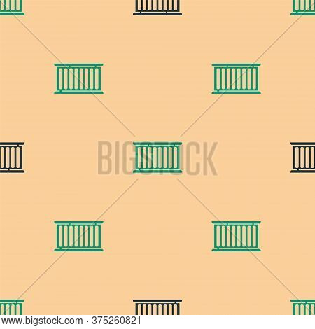 Green And Black Container Icon Isolated Seamless Pattern On Beige Background. Crane Lifts A Containe
