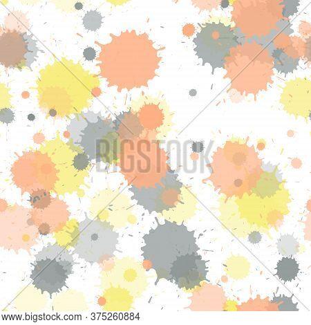 Watercolor Paint Transparent Stains Vector Seamless Wallpaper Pattern. Rusty Ink Splatter, Spray Blo