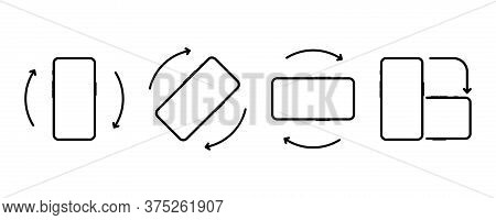 Rotate Mobile Phone. Device Rotation Symbol. Turn Your Device. Rotate Smartphone, Icon Set Vector Il