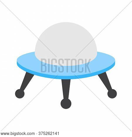 Ufo Icon In Flat Style. Alien Invasion Symbol. Flying Saucer.