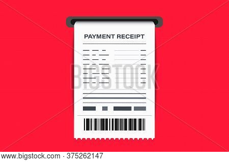 Shop Receipt With Barcode. Paper Check, Reciepts And Financial-check. Invoice Sign. A Receipt The Sa
