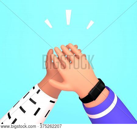 Two Person Giving Five To Each Other. People Celebrate Or Come To Agreement How To Achieve Results I