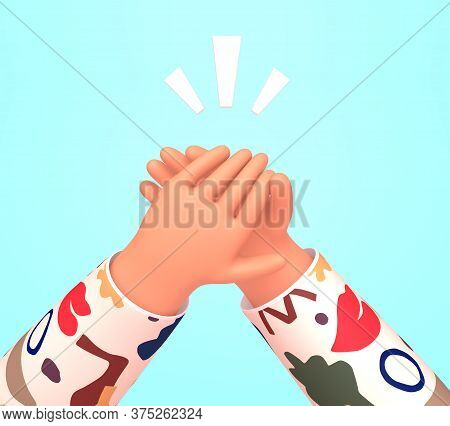 Human  Hands Clapping. Applause, Ovation, Celebrating, Rapture. 3d Render Illustration In Trendy Car