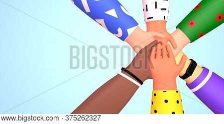 Web Banner With Group Of People Putting Their Hands Together On Each Other. Friendship, Partnership,