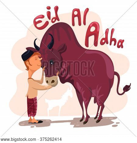 Man Petting A Cow For Sacrifice Celebrating Eid Al Adha. Happy Eid Al Adha Mubarak. Selamat Idul Adh