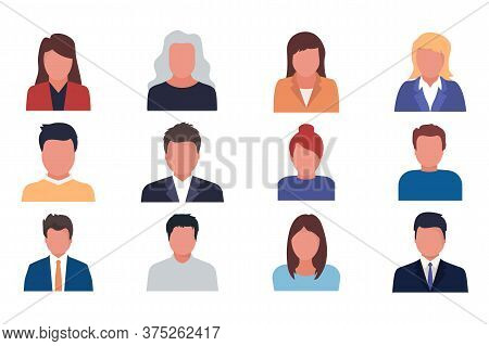 Default Avatar Profile Male And Female Faces. Man And Woman. Business Men And Women Avatar Icons. Ve