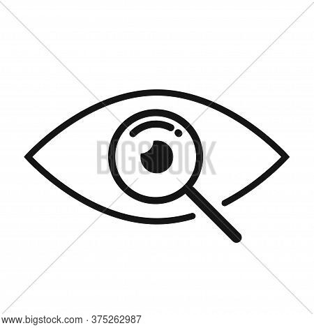 Magnifier With Eye Outline Icon. Magnifi Eye Symbol.