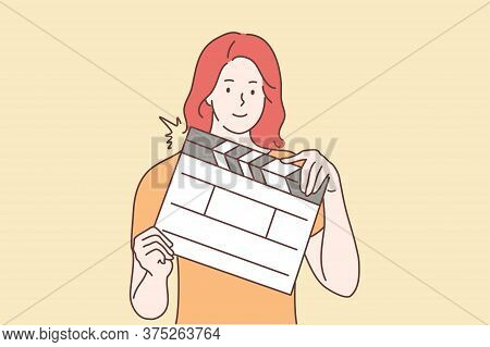 Shootings, Movie, Assistance Concept. Young Happy Smiling Woman Or Girl Assistant Cartoon Character