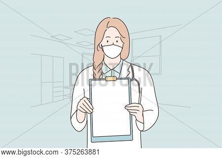 Healthcare, Medicine, Coronavirus, Infection, Diagnosis Concept. Young Woman Girl Doctor Nurse Chara