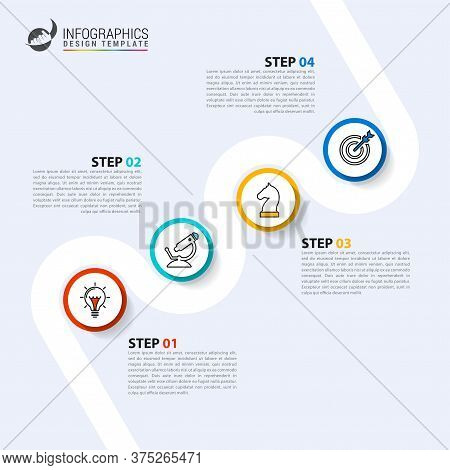 Infographic Design Template. Timeline Concept With 4 Steps. Can Be Used For Workflow Layout, Diagram