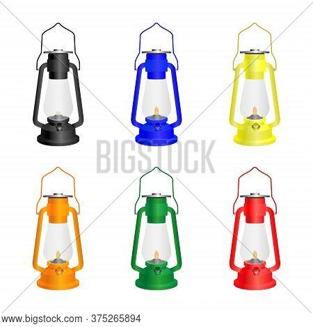 Antique Kerosene Lamp Isolated On A White Background. Set Of Lamps Of Six Different Colors. Vector.