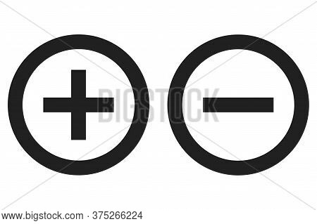 Plus Minus Round Icon. Vector Isolated Symbol. Positive And Negative.