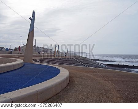Blackpool, Lancashire, United Kingdom - 6 March 2020: The Curved Promenade Along The Seafront At Cle