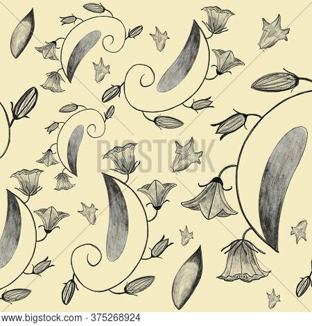 Pencil Drawing Bellflowers, Campanella, Blooms, Leaves, Plants. Seamless Floral Pattern On Yellow Ba