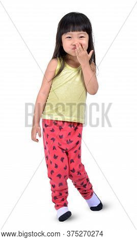 Little Asian Girl Gag Her Mount And Smile Isolated On White With Clipping Path