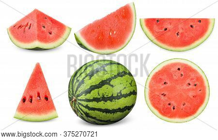 Collection Watermelon Isolated On White, Watermelon Clipping Path