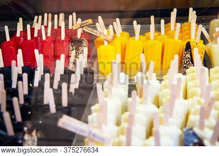 Ice cream in Sicily, Italy. Italian gelateria. Sicilian ice-cream cafe, show window with sweeties.
