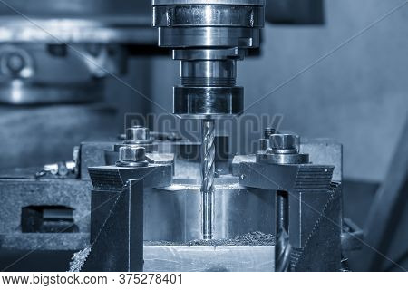 The Milling Machine Make The Hole On The Work Pieces By Drill Tools. The Metal Working Process By Mi