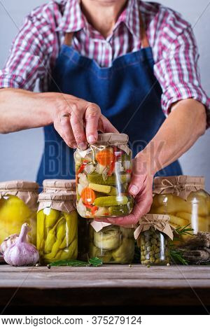 Homemade Preserved And Fermented Food, Pickled And Marinated Vegetables