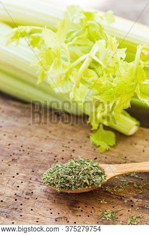 Green Fresh Celery Together With Dry Celery Seasoning In Spoon