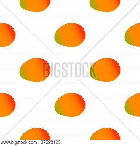 Illustration On Theme Big Colored Seamless Mango, Bright Fruit Pattern For Seal. Fruit Pattern Consi