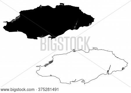 Nassau City (commonwealth Of The Bahamas, New Providence Island) Map Vector Illustration, Scribble S