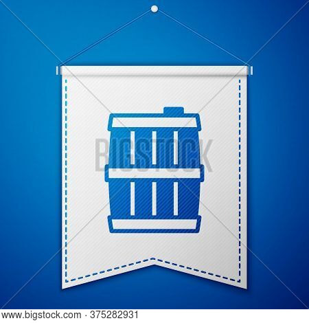 Blue Wooden Barrel Icon Isolated On Blue Background. Alcohol Barrel, Drink Container, Wooden Keg For