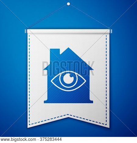 Blue House With Eye Scan Icon Isolated On Blue Background. Scanning Eye. Security Check Symbol. Cybe