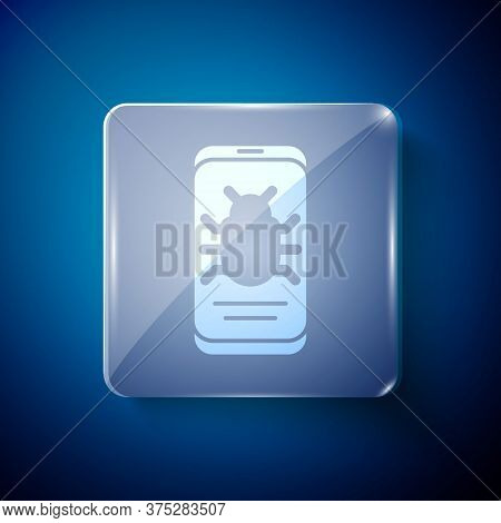 White System Bug On Mobile Icon Isolated On Blue Background. Code Bug Concept. Bug In The System. Bu