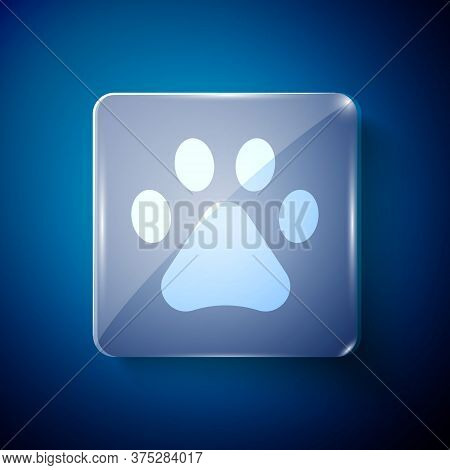 White Paw Print Icon Isolated On Blue Background. Dog Or Cat Paw Print. Animal Track. Square Glass P