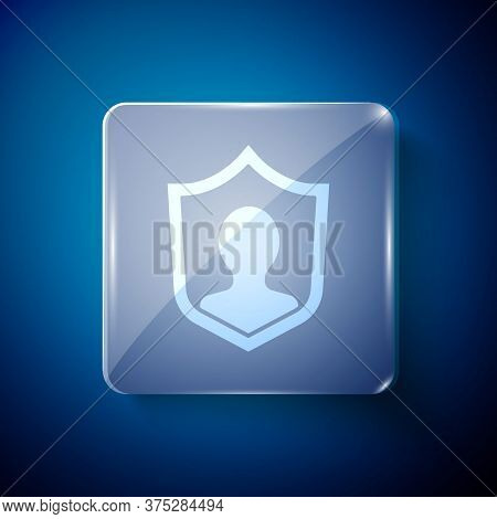 White User Protection Icon Isolated On Blue Background. Secure User Login, Password Protected, Perso