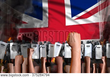 Protest In United Kingdom (uk) - Police Guards Stand Against The Protestors Crowd On Flag Background