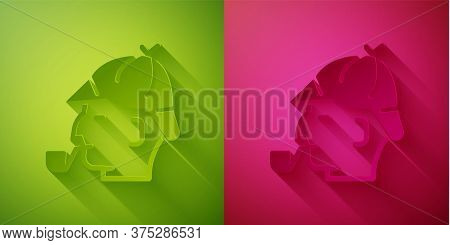Paper Cut Sherlock Holmes With Smoking Pipe Icon Isolated On Green And Pink Background. Detective. P
