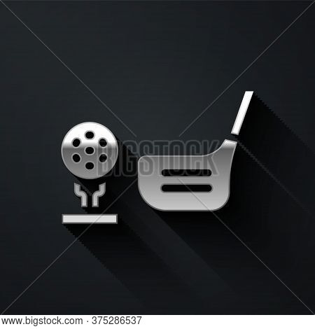 Silver Golf Flag And Golf Ball On Tee Icon Isolated On Black Background. Golf Equipment Or Accessory