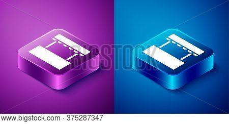 Isometric Ticket Box Office Icon Isolated On Blue And Purple Background. Ticket Booth For The Sale O