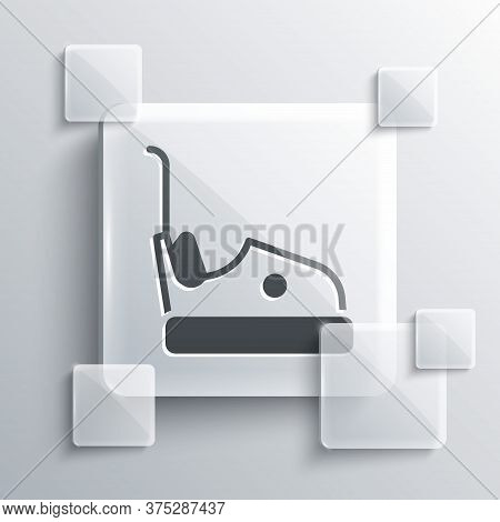 Grey Bumper Car Icon Isolated On Grey Background. Amusement Park. Childrens Entertainment Playground