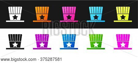 Set Patriotic American Top Hat Icon Isolated On Black And White Background. Uncle Sam Hat. American