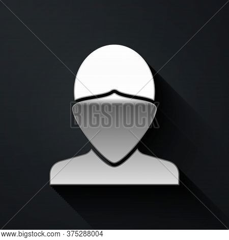 Silver Vandal Icon Isolated On Black Background. Long Shadow Style. Vector