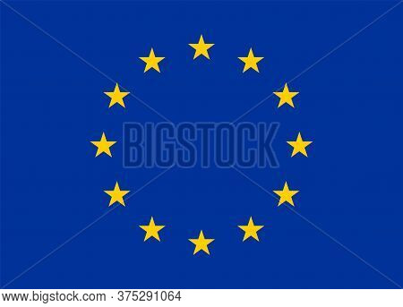 Official Flag Of European Union. Yellow Star On Isolated Blue Background. Symbol Of European Country