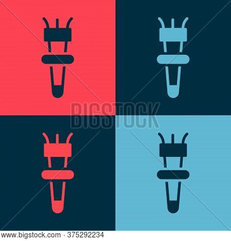 Pop Art Torch Flame Icon Isolated On Color Background. Symbol Fire Hot, Flame Power, Flaming And Hea