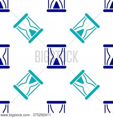 Blue Old Hourglass With Flowing Sand Icon Isolated Seamless Pattern On White Background. Sand Clock
