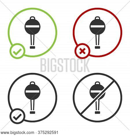 Black Rattle Baby Toy Icon Isolated On White Background. Beanbag Sign. Circle Button. Vector